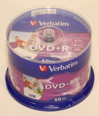 "Оптический диск DVD+R ""Verbatim"" Printable 4,7GB 16x CB50 (50/200)"